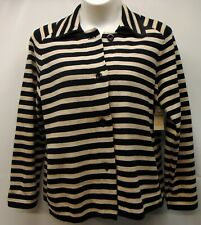 NEW Coldwater Creek Stripe Sweater Jacket Womens Size 2X  black tan Button Front