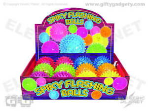 Light-Up Flashing Spiky 'Hedgehog' Balls Box 12 Mixed Colours Sensory Party Toys