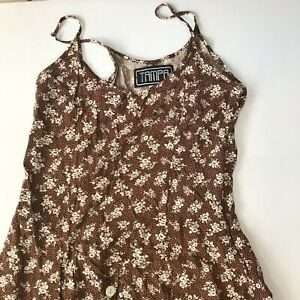 Vintage Dress Floral Maxi Cottagecore Rayon Button Brown White Country Boho S XS