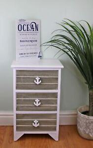 Chest of 3 Drawers Nautical Anchor Handles Wooden Storage Organiser Grey & White
