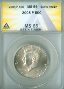 2008-P SATIN FINISH KENNEDY HALF DOLLAR ANACS MS66 FREE S/H (2126437)