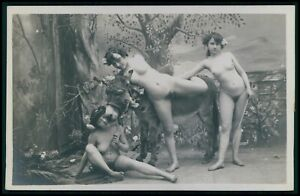French nude woman Three Graces & donkey original early 1900s photo RPPC postcard