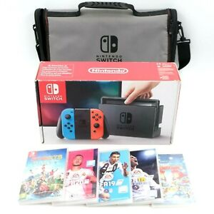 Nintendo Switch Console - 5 Top Games FIFA, Sports Party - Carry Bag  - Free P&P
