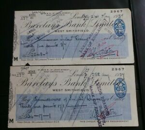 """UK, 2 """"Barclays Bank, West Smithfield"""", Cheques, 1937. Payable to Inland Revenue"""