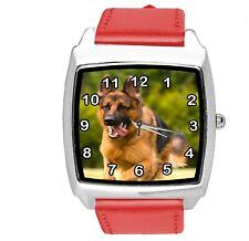 GERMAN SHEPHERD PUPPY DOG OWCZAREK Schäferhund RED LEATHER QUARTZ STEEL WATCH