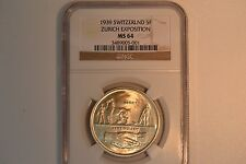 1939 Switzlerland 5 Francs- Zurich Exposition-  NGC MS-64.  Lustrous and nice.