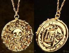 Fashion Pirates of the Caribbean Aztec Coin Medallion Skull Pendant Necklace New