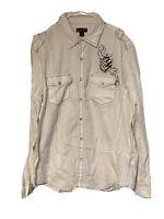 Helix Western Pearl Snap Shirt Mens Sz XXL 2XL White Brown Cotton Long Sleeve