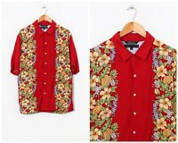 90s Vintage Mens TOMMY HILFIGER Flowers Printed Shirt Short Sleeve Red Size L