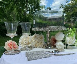Cake Knife & Server Silver With Full Bling Handles Wedding for Bride & Groom