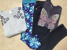 Girl's Size 10/12 lot-Gymboree-Place-Euc-4 items-Navy and Multi-colors-flowers