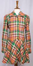 Vintage 1960s Plaid Pure Wool Mod Mini Dress NEW Deadstock Original Tags M
