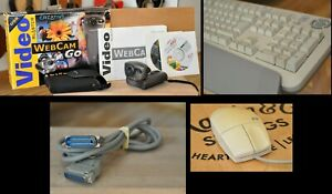 Vintage IBM PC Bundle PS2 Keyboard + Mouse + Webcam + Cable - Free Shipping!