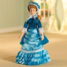 Dolls House Miniature Porcelain doll 1:12 accessory. ESTELLA turqoise satin gown