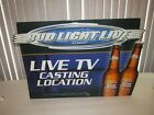 """BUD LIGHT BEER SIGN """"Live TV Casting Location"""" Bud Light Live.com tin 2001 RARE"""