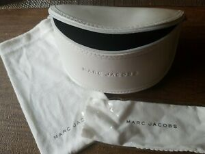 New Authentic Marc Jacobs White Large Sunglass Case with Pouch & Cleaning Cloth