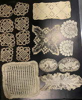 Antique Victorian Handmade Vintage Lace Trim Sewing Collecting Croche 16 PCS Lot