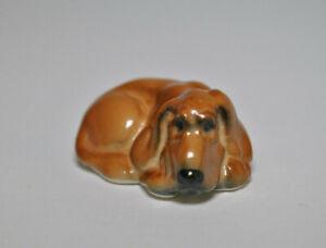 PORCELAIN Figurine DOG Bloodhound ORANGE.Hand Painted