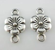 15pcs Tibetan Silver 1 to 1 Holes Flower Charms Bails Connectors 10x17.5mm