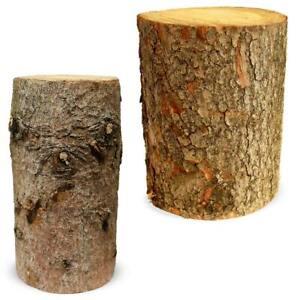 Baumstamm Echtholz Fichte Holzstamm Hocker Deko Blumenhocker 2 Größen