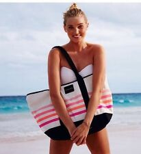 New Victoria's Secret Sunkissed swim tote bag Pink White Striped Beach Swim 2016