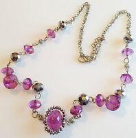 collier pendentif rétro couleur argent perle de verre facette miroir / mauve 306