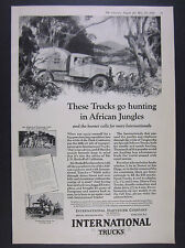 1928 IH International Trucks african hunting expedition photos vintage print Ad