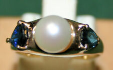 Ladies 14KT y/g Pearl and Sapphire ring, size 4.5