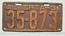1931 Alberta Passenger License Plate 35-873