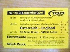 Ticket- 2004 OSTERREICH v ENGLAND, 3 September 2004
