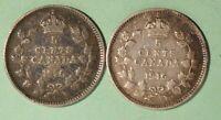 1916 + 1916  Canada Silver 5 Cents - INV#S-270