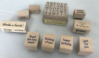 Wood Mounted Rubber Stamp LOT Antique Alphabet PSX Set To-From Birthday Thanks