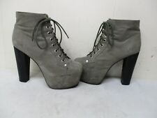 Jeffrey Campbell Lita Gray Leather High Heel Lace Ankle Boots Womens Size 7.5 M
