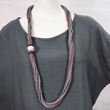 Lagenlook Multi-Strand Rubber Necklace in Grey and Maroon