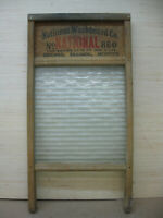 """Antique National Washboard Co. No. 860 """"The Glass King"""" ribbed glass washboard"""