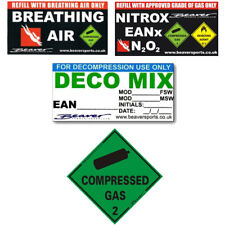 Dive Cylinder / Car - STICKERS - Deco Mix, Breathing Air, Nitrox, Compressed Gas
