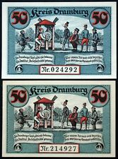 """DRAMBURG 1920 two paper variants! """"The Sanding Mill"""" Notgeld Germany now Poland"""