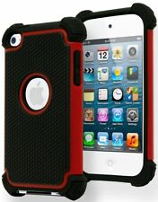 Hybrid Armor Case for iPod Touch 4 4th Generation - Red & Black