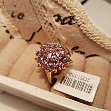 Stunning AA Tanzanite Cluster Ring in 14k gold overlay Sterling Silver 'Q'
