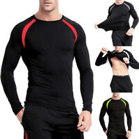 Men's Long Sleeve Fitness Clothes Long-Sleeved Pure Top T-Shirt GIFT Tops Sports