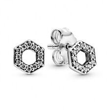 AUTHENTIC-GENUINE PANDORA Sparkling Honeycomb Hexagon Stud Earrings 298800C01