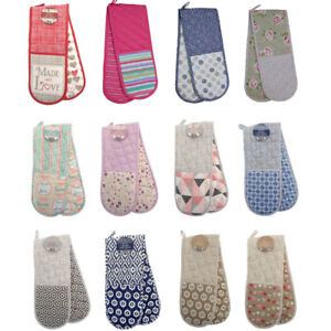 DOUBLE OVEN GLOVES THICK PADDED HEAT RESISTANT KITCHEN COTTON  MITTS OVEN GLOVE