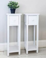 Pair of Bedside Tables With Drawer White Two Hallway Slim Living Room Tables