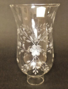 "Clear Flower Glass Hurricane Lamp Shade Candle Chandelier Light, 3 1/2"" x 6 1/2"""