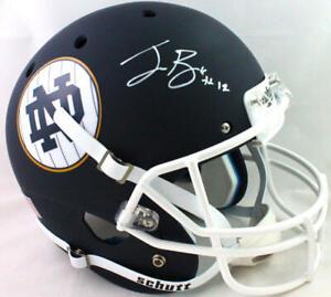 Ian Book Autographed Full Size ND Navy Schutt Helmet White FM- Beckett W *White