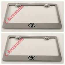 2X Toyota Logo Stainless Steel Chrome Finished License Plate Frame Rust Free