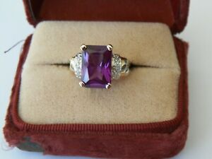 GOLD OVER STERLING SILVER SYNTHETIC ALEXANDRITE W DIAMOND ACCENT 6 3/4 RING