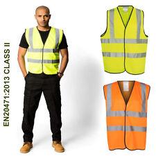 Hi Vis Vest Yellow Orange High Viz Visibility Waistcoat Safety Work EN ISO 2047