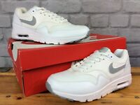 NIKE LADIES UK 4 EU 37.5 AIR MAX 1 ULTRA ESSENTIALS WHITE GREY TRAINERS LD