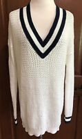NWT Women's White Hooked Up V Neck Tennis Sweater XS